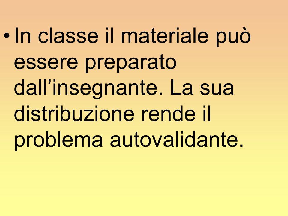In classe il materiale può essere preparato dallinsegnante. La sua distribuzione rende il problema autovalidante.