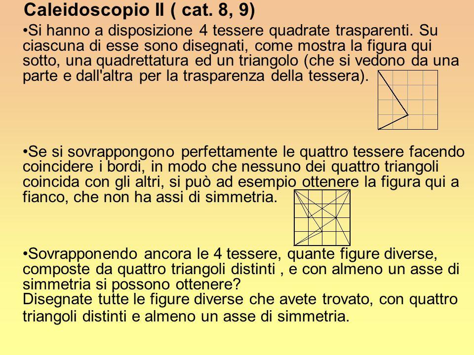 Caleidoscopio II ( cat. 8, 9) Si hanno a disposizione 4 tessere quadrate trasparenti. Su ciascuna di esse sono disegnati, come mostra la figura qui so