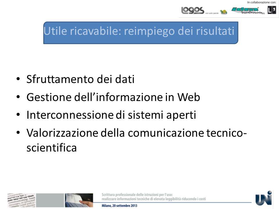 Utile ricavabile: reimpiego dei risultati Sfruttamento dei dati Gestione dellinformazione in Web Interconnessione di sistemi aperti Valorizzazione della comunicazione tecnico- scientifica
