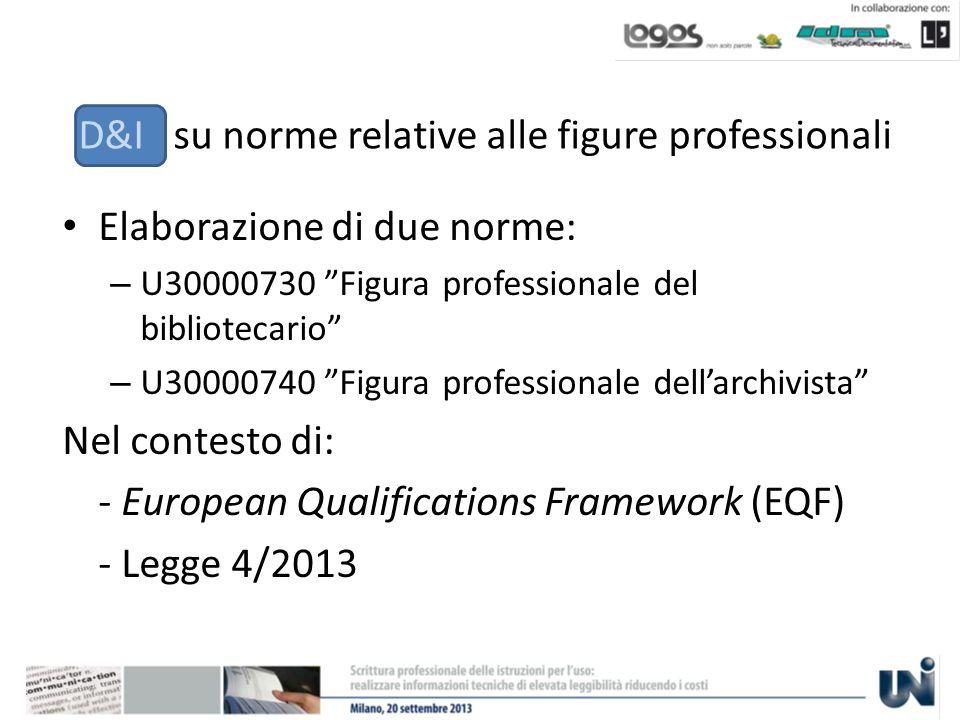 D&I su norme relative alle figure professionali Elaborazione di due norme: – U30000730 Figura professionale del bibliotecario – U30000740 Figura professionale dellarchivista Nel contesto di: - European Qualifications Framework (EQF) - Legge 4/2013