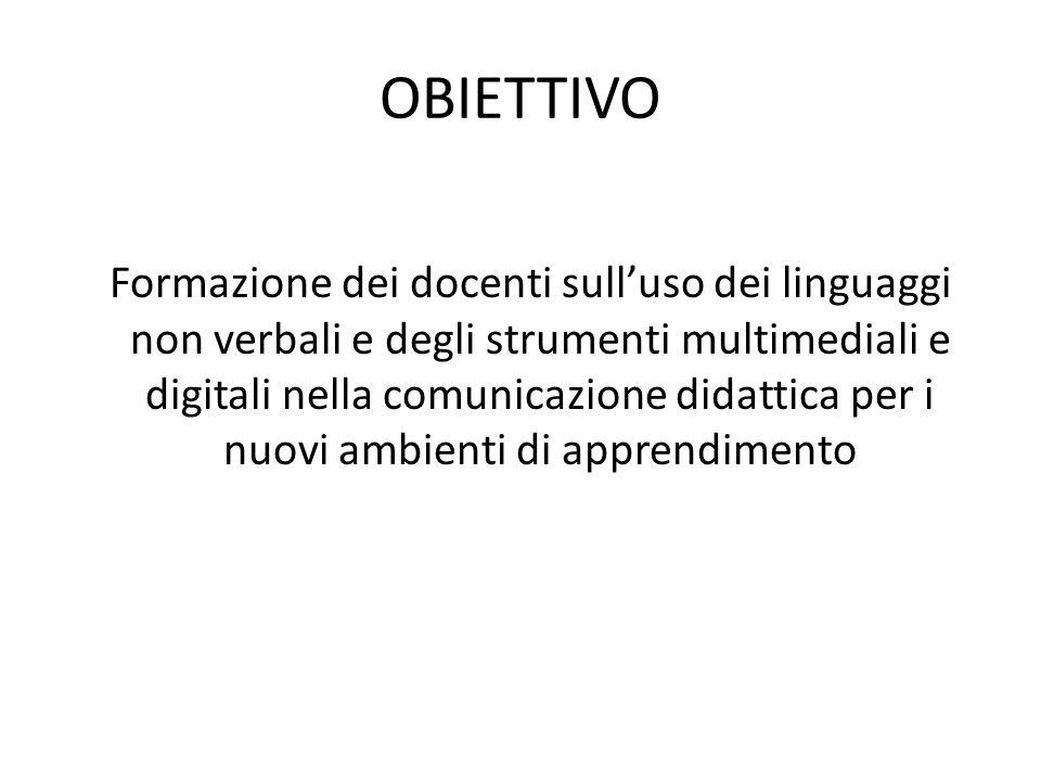 OBIETTIVO Formazione dei docenti sulluso dei linguaggi non verbali e degli strumenti multimediali e digitali nella comunicazione didattica per i nuovi ambienti di apprendimento