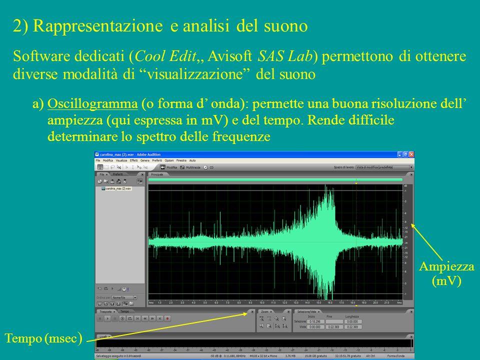 2) Rappresentazione e analisi del suono a) Oscillogramma (o forma d onda): permette una buona risoluzione dell ampiezza (qui espressa in mV) e del tempo.