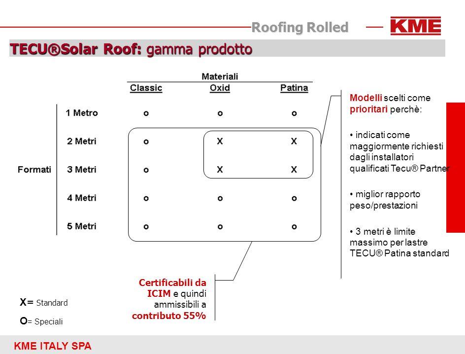 KME ITALY SPA Roofing Rolled TECU®Solar Roof: gamma prodotto X = Standard O = Speciali Certificabili da ICIM e quindi ammissibili a contributo 55% Mod