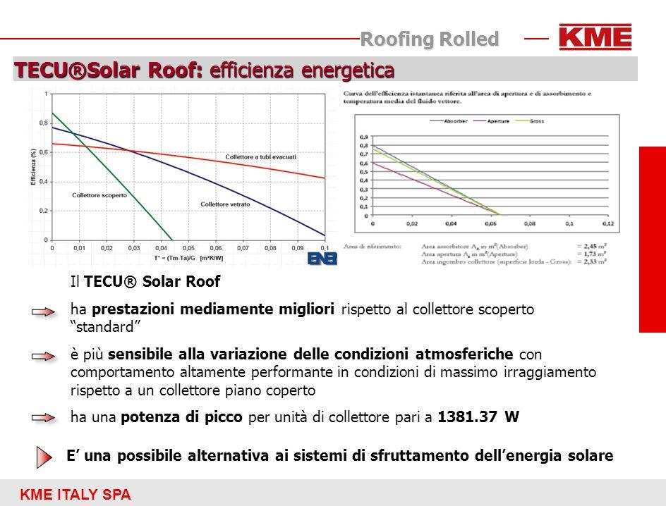 KME ITALY SPA Roofing Rolled TECU®Solar Roof: efficienza energetica Il TECU® Solar Roof ha prestazioni mediamente migliori rispetto al collettore scop