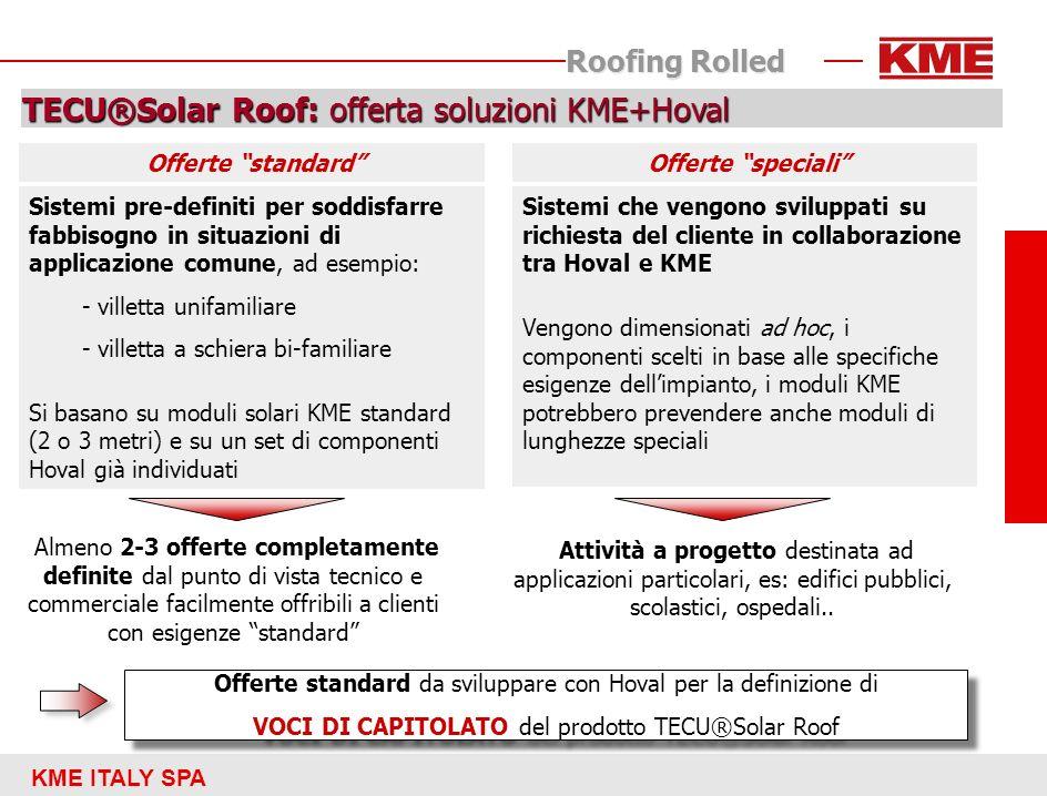 KME ITALY SPA Roofing Rolled TECU®Solar Roof: offerta soluzioni KME+Hoval Sistemi pre-definiti per soddisfarre fabbisogno in situazioni di applicazion