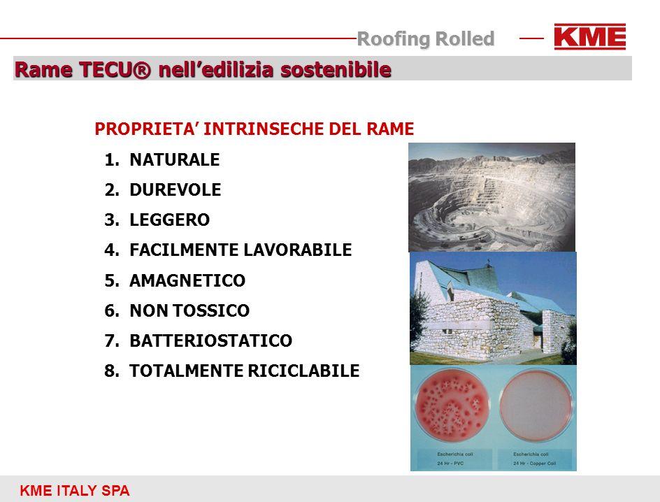 KME ITALY SPA Roofing Rolled Rame TECU® nelledilizia sostenibile PROPRIETA INTRINSECHE DEL RAME 1.NATURALE 2.DUREVOLE 3.LEGGERO 4.FACILMENTE LAVORABIL
