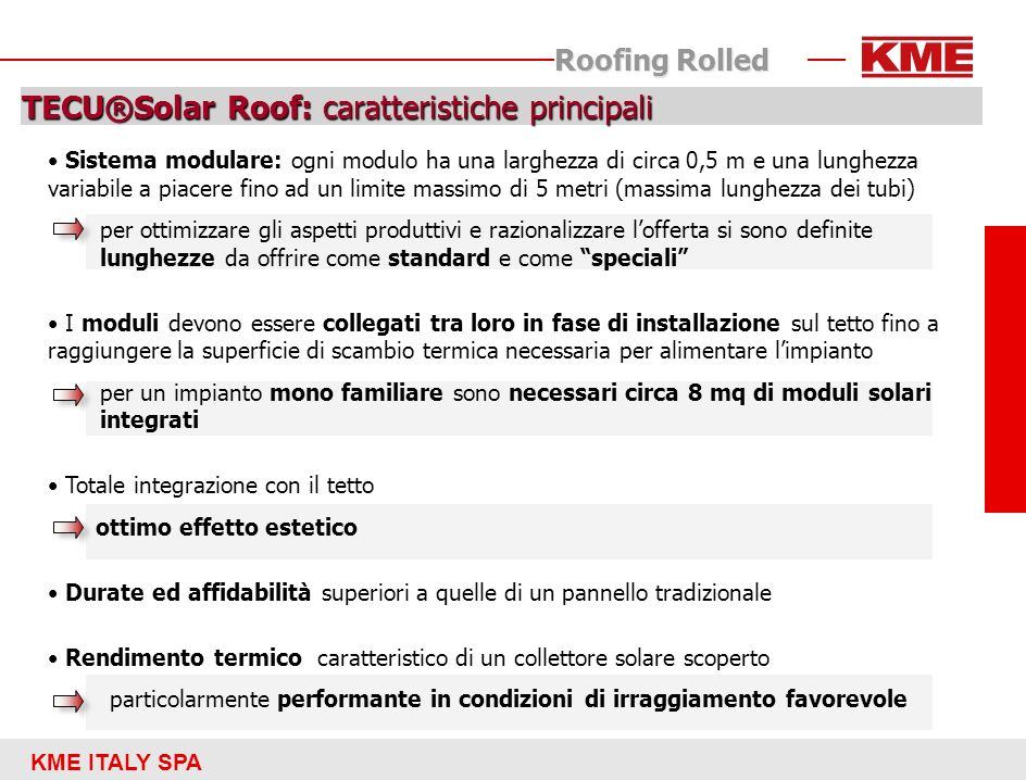 KME ITALY SPA Roofing Rolled TECU®Solar Roof: schema del modulo captante