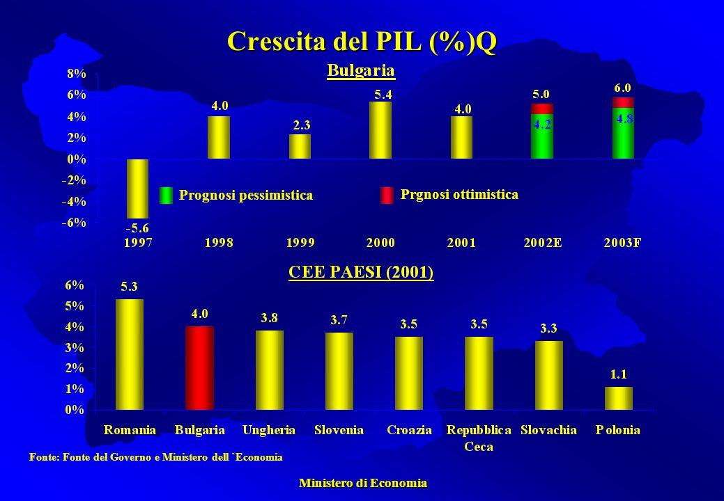 Ministero di Economia Ministero di Economia Crescita del PIL (%)Q Prognosi pessimistica Prgnosi ottimistica Fonte: Fonte del Governo e Ministero dell `Economia
