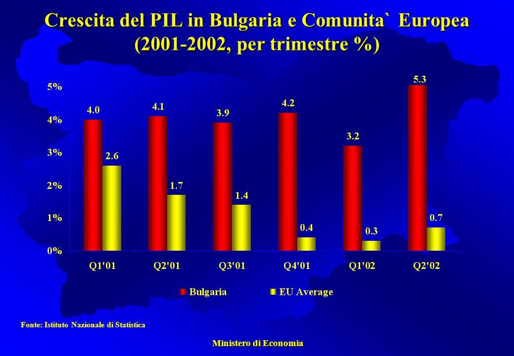 Ministero di Economia Ministero di Economia Crescita del PIL in Bulgaria e Comunita` Europea (2001-2002, per trimestre %) Fonte: Istituto Nazionale di Statistica