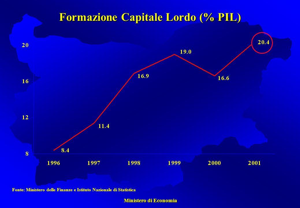 Ministero di Economia Ministero di Economia Formazione Capitale Lordo (% PIL) Fonte: Ministero delle Finanze e Istituto Nazionale di Statistica