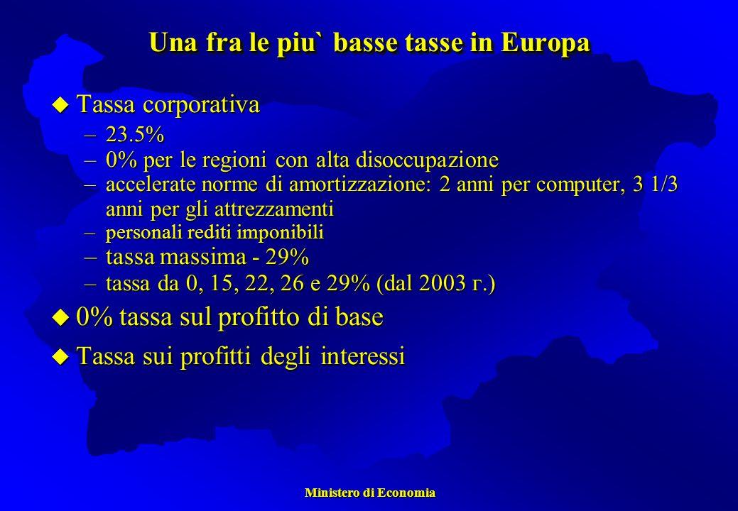 Una fra le piu` basse tasse in Europa Tassa corporativa Tassa corporativa –23.5% –0% per le regioni con alta disoccupazione –accelerate norme di amortizzazione: 2 anni per computer, 3 1/3 anni per gli attrezzamenti –personali rediti imponibili –tassa massima - 29% –tassa da 0, 15, 22, 26 e 29% (dal 2003 г.) u 0% tassa sul profitto di base u Tassa sui profitti degli interessi