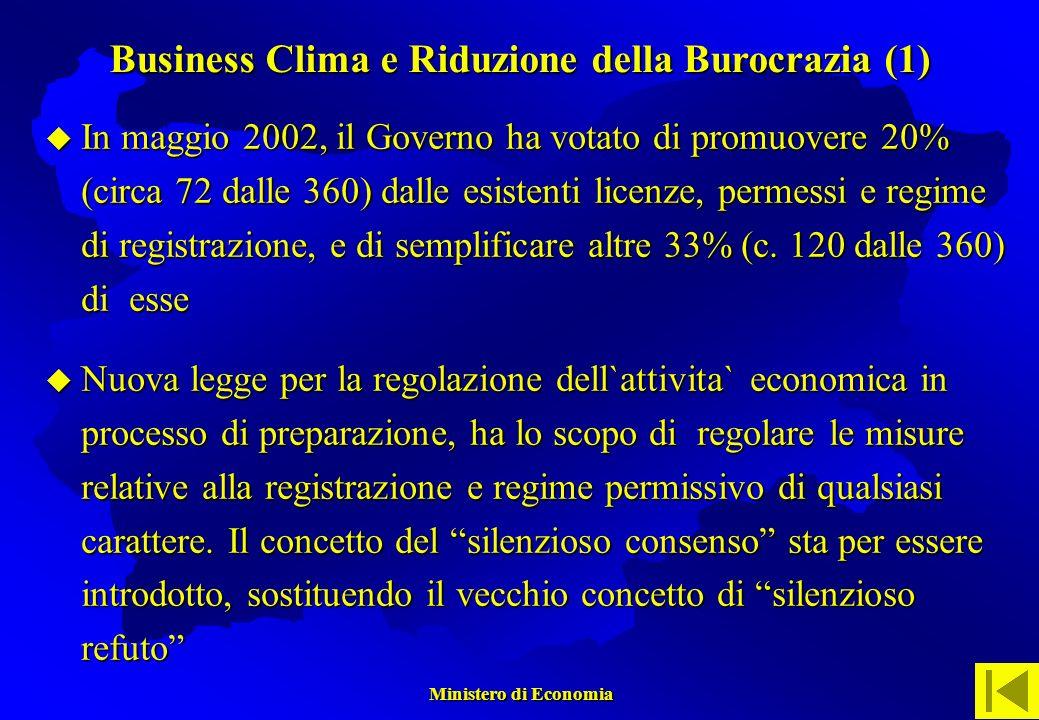 Ministero di Economia Ministero di Economia In maggio 2002, il Governo ha votato di promuovere 20% (circa 72 dalle 360) dalle esistenti licenze, permessi e regime di registrazione, e di semplificare altre 33% (c.