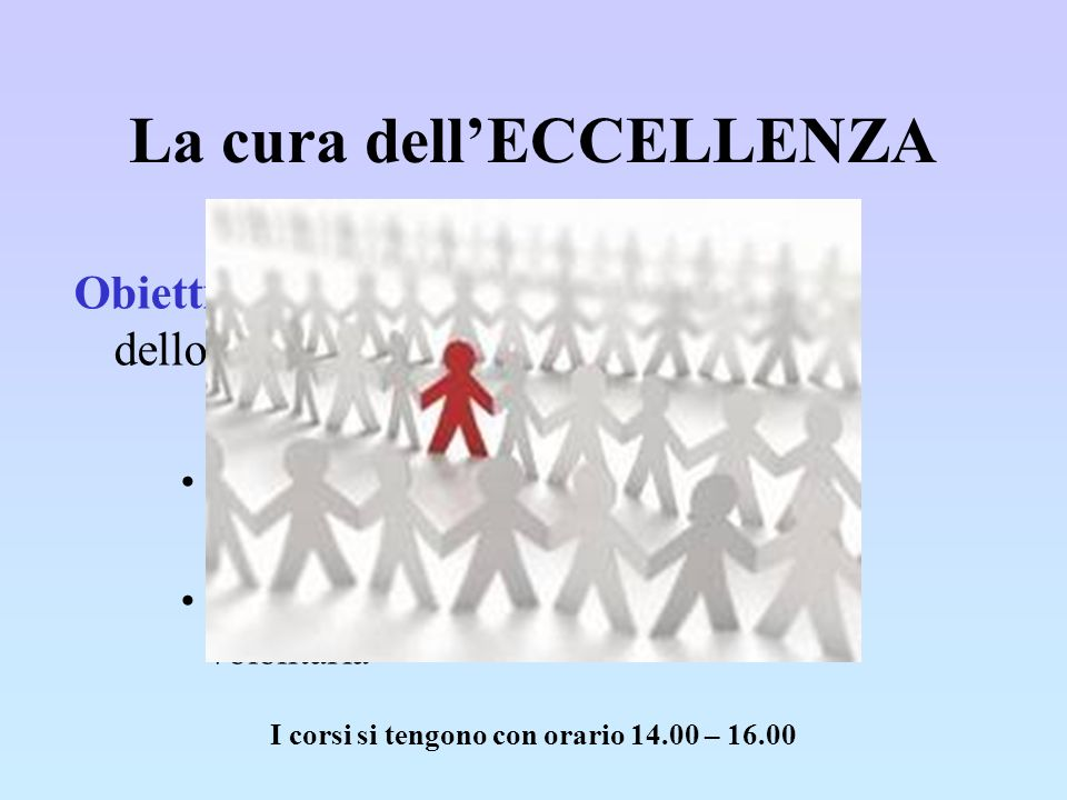 La cura dellECCELLENZA I corsi si tengono con orario 14.00 – 16.00 Obiettivo: promuovere le potenzialità dello studente Progetti che completano il cur