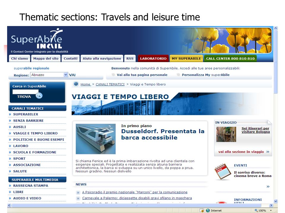 Thematic sections: Travels and leisure time