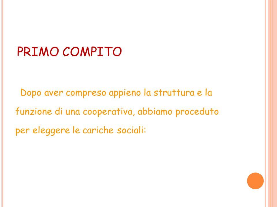 PRIMO COMPITO Dopo aver compreso appieno la struttura e la funzione di una cooperativa, abbiamo proceduto per eleggere le cariche sociali:
