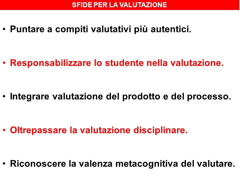 SFIDE PER LA VALUTAZIONE Puntare a compiti valutativi più autentici. Responsabilizzare lo studente nella valutazione. Integrare valutazione del prodot