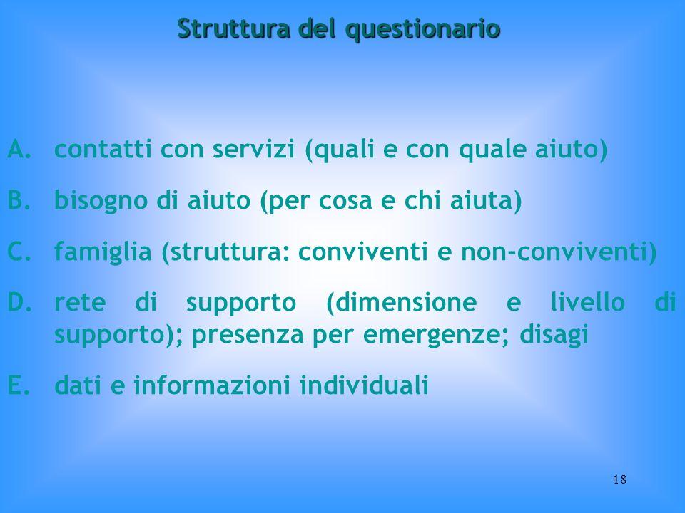 18 A.contatti con servizi (quali e con quale aiuto) B.bisogno di aiuto (per cosa e chi aiuta) C.famiglia (struttura: conviventi e non-conviventi) D.re