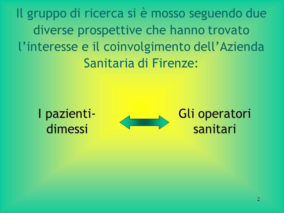 2 Il gruppo di ricerca si è mosso seguendo due diverse prospettive che hanno trovato linteresse e il coinvolgimento dellAzienda Sanitaria di Firenze: