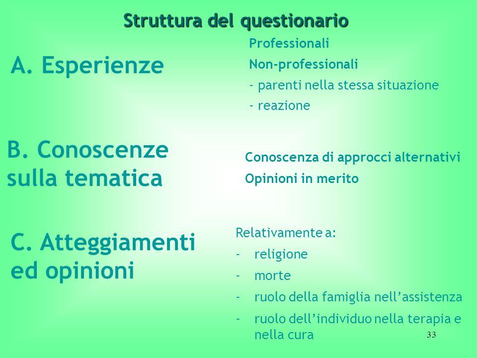 33 A. Esperienze Professionali Non-professionali - parenti nella stessa situazione - reazione Struttura del questionario B. Conoscenze sulla tematica