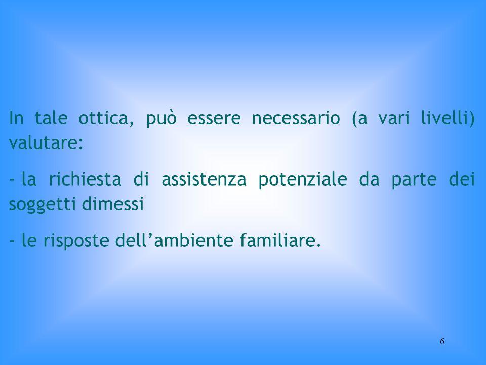 6 In tale ottica, può essere necessario (a vari livelli) valutare: - la richiesta di assistenza potenziale da parte dei soggetti dimessi - le risposte
