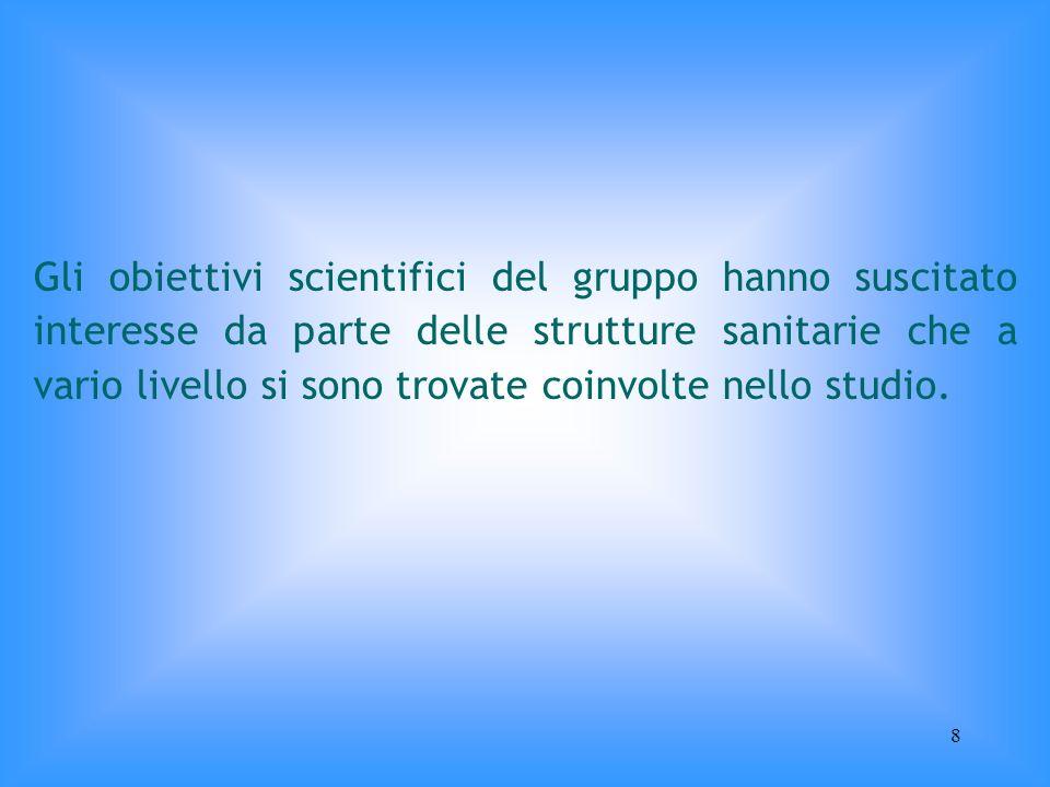 8 Gli obiettivi scientifici del gruppo hanno suscitato interesse da parte delle strutture sanitarie che a vario livello si sono trovate coinvolte nell