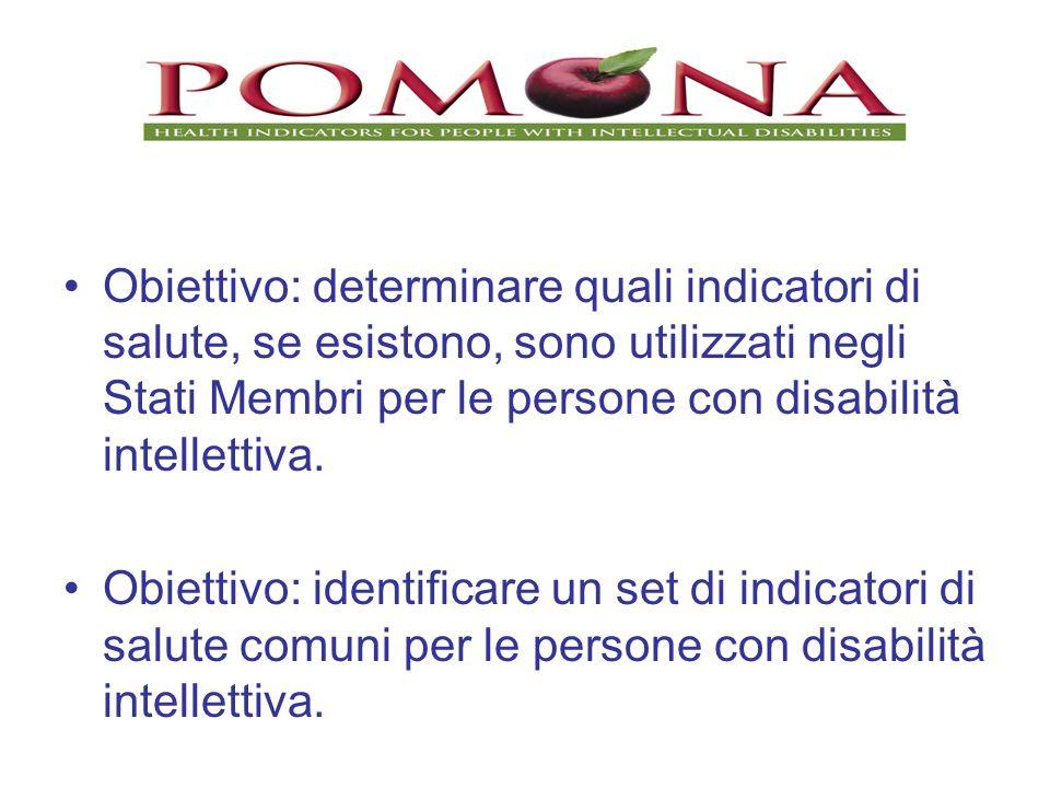Obiettivo: determinare quali indicatori di salute, se esistono, sono utilizzati negli Stati Membri per le persone con disabilità intellettiva. Obietti