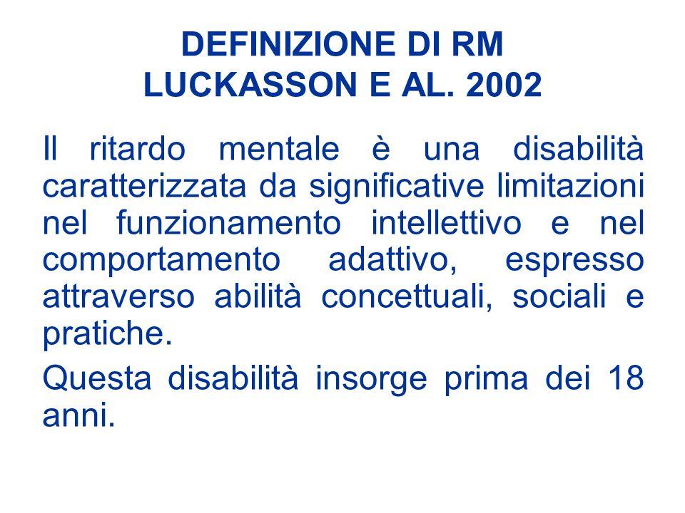 DEFINIZIONE DI RM LUCKASSON E AL. 2002 Il ritardo mentale è una disabilità caratterizzata da significative limitazioni nel funzionamento intellettivo