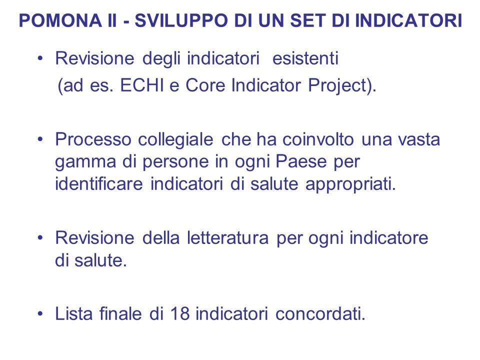 POMONA II - SVILUPPO DI UN SET DI INDICATORI Revisione degli indicatori esistenti (ad es. ECHI e Core Indicator Project). Processo collegiale che ha c