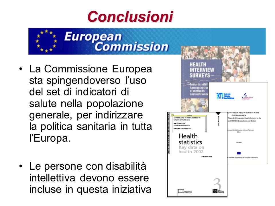 Conclusioni La Commissione Europea sta spingendoverso luso del set di indicatori di salute nella popolazione generale, per indirizzare la politica san