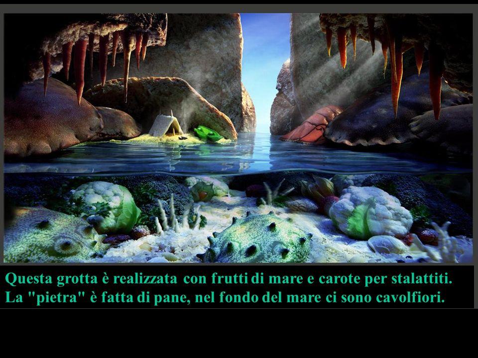 In questo paesaggio i principal componenti soo: Prosciutto – cielo, montagna, cascata e fiume; Pane – per le rocce; Grissini – casa e pontile; Salame – tetto.