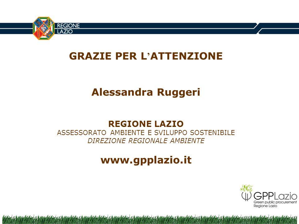 GRAZIE PER L ATTENZIONE Alessandra Ruggeri REGIONE LAZIO ASSESSORATO AMBIENTE E SVILUPPO SOSTENIBILE DIREZIONE REGIONALE AMBIENTE www.gpplazio.it