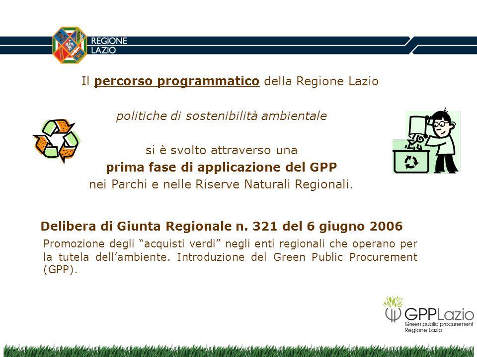 Il percorso programmatico della Regione Lazio politiche di sostenibilità ambientale si è svolto attraverso una prima fase di applicazione del GPP nei