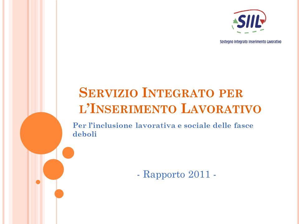 S ERVIZIO I NTEGRATO PER L I NSERIMENTO L AVORATIVO Per linclusione lavorativa e sociale delle fasce deboli - Rapporto 2011 -