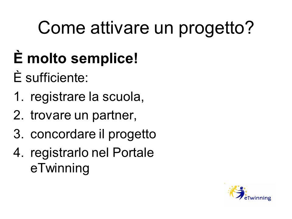 Come attivare un progetto? È molto semplice! È sufficiente: 1.registrare la scuola, 2.trovare un partner, 3.concordare il progetto 4.registrarlo nel P