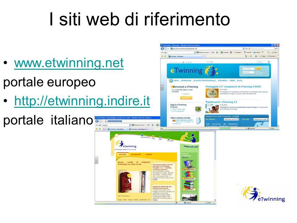 I siti web di riferimento www.etwinning.net portale europeo http://etwinning.indire.it portale italiano