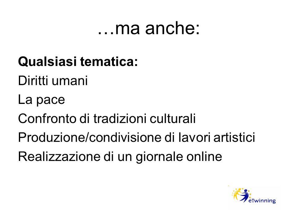 …ma anche: Qualsiasi tematica: Diritti umani La pace Confronto di tradizioni culturali Produzione/condivisione di lavori artistici Realizzazione di un