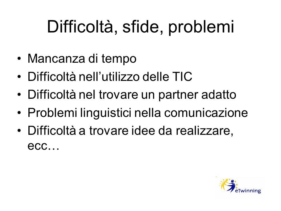 Difficoltà, sfide, problemi Mancanza di tempo Difficoltà nellutilizzo delle TIC Difficoltà nel trovare un partner adatto Problemi linguistici nella co