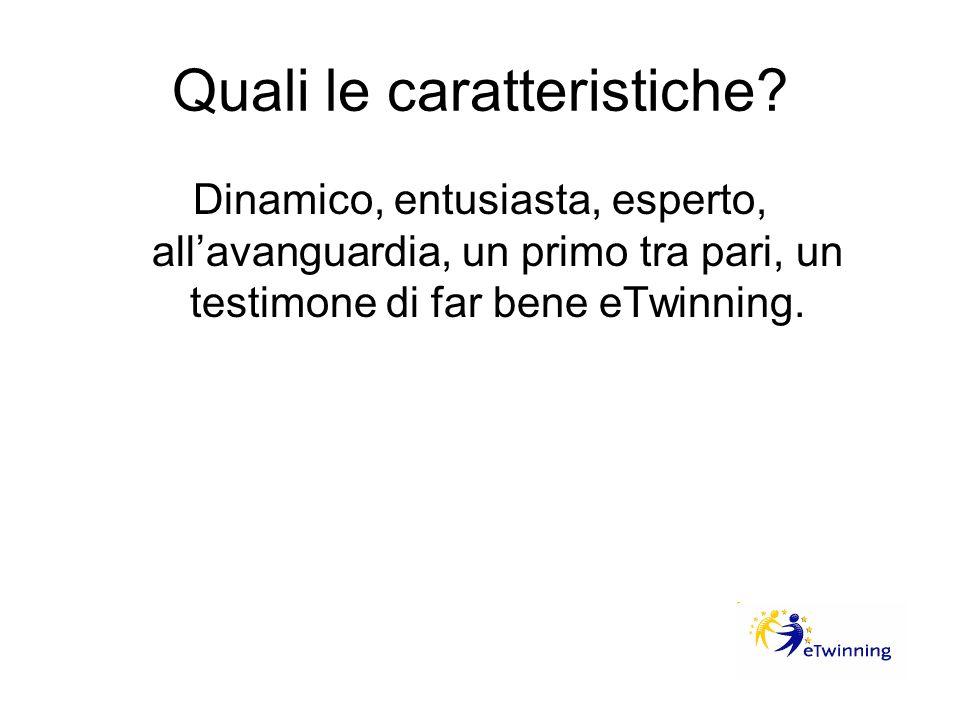 Quali le caratteristiche? Dinamico, entusiasta, esperto, allavanguardia, un primo tra pari, un testimone di far bene eTwinning.