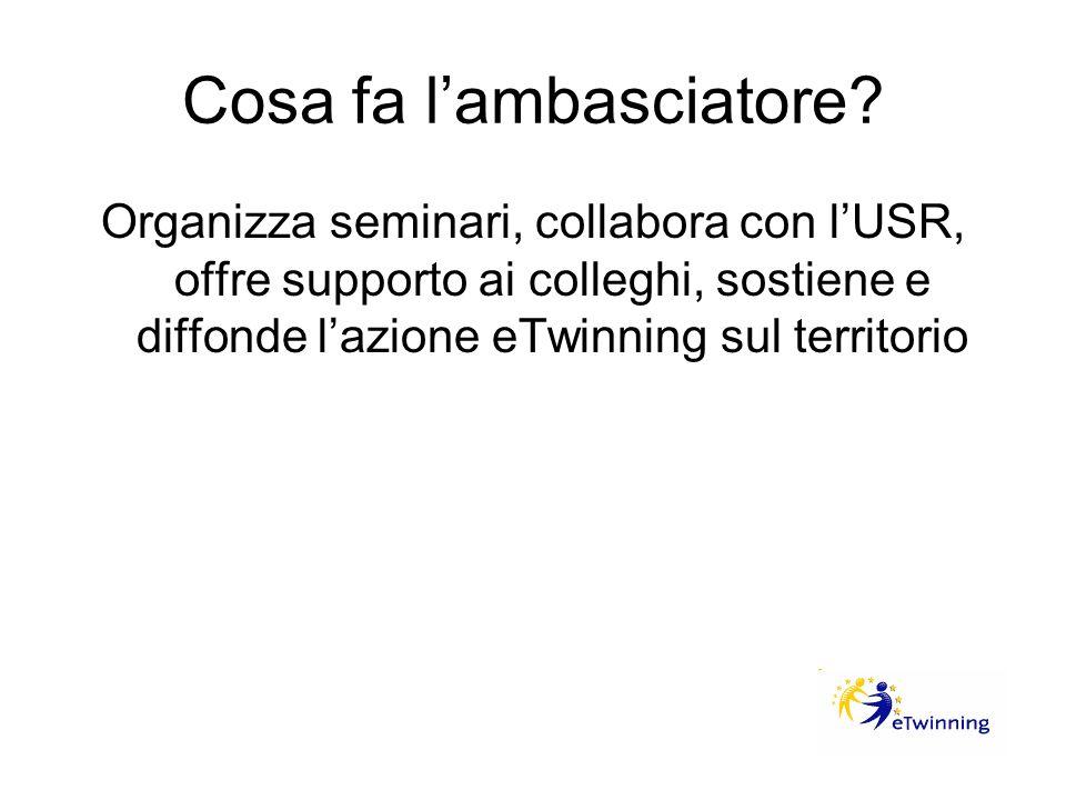 Cosa fa lambasciatore? Organizza seminari, collabora con lUSR, offre supporto ai colleghi, sostiene e diffonde lazione eTwinning sul territorio