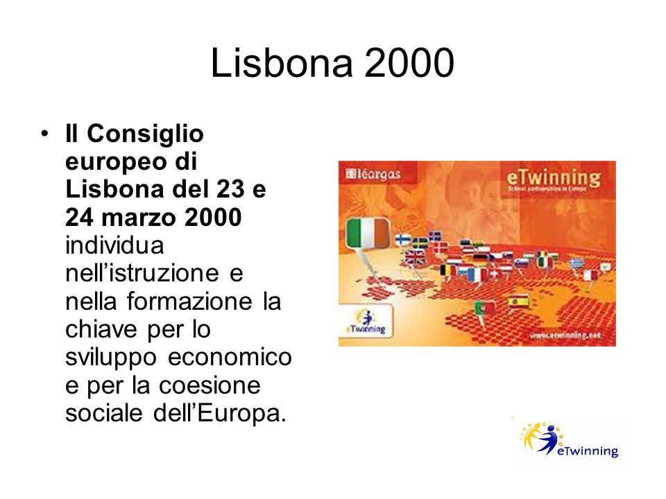 Lisbona 2000 Il Consiglio europeo di Lisbona del 23 e 24 marzo 2000 individua nellistruzione e nella formazione la chiave per lo sviluppo economico e