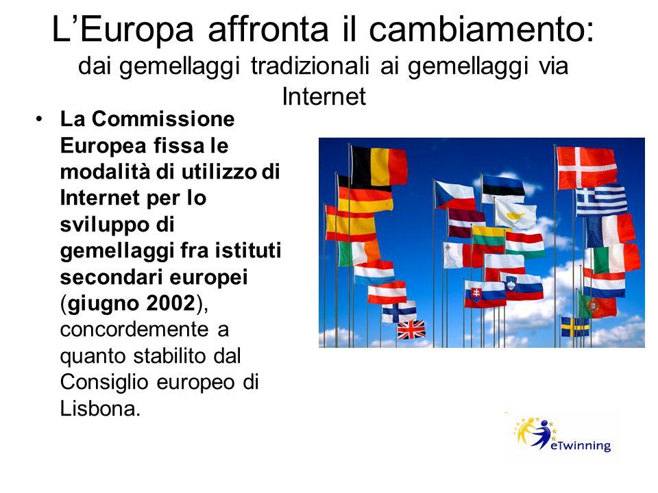 LEuropa affronta il cambiamento: dai gemellaggi tradizionali ai gemellaggi via Internet La Commissione Europea fissa le modalità di utilizzo di Intern