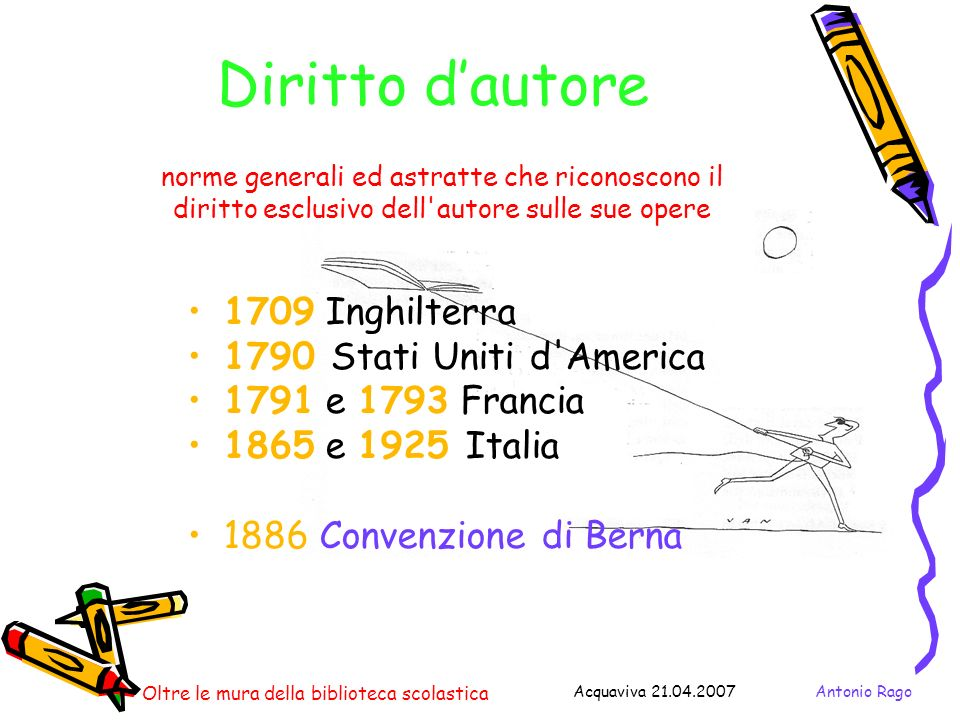 Antonio RagoAcquaviva 21.04.2007 Oltre le mura della biblioteca scolastica La normativa italiana Legge 22 aprile 1941 n.