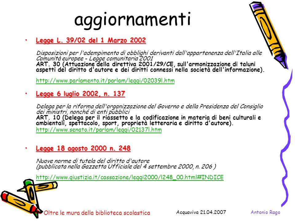 Antonio RagoAcquaviva 21.04.2007 Oltre le mura della biblioteca scolastica aggiornamenti Legge L.