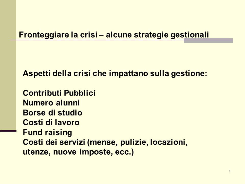 1 Fronteggiare la crisi – alcune strategie gestionali Aspetti della crisi che impattano sulla gestione: Contributi Pubblici Numero alunni Borse di stu