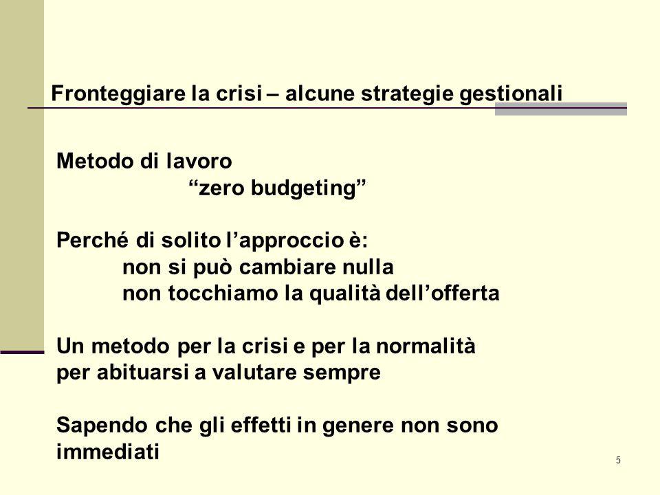 5 Fronteggiare la crisi – alcune strategie gestionali Metodo di lavoro zero budgeting Perché di solito lapproccio è: non si può cambiare nulla non toc
