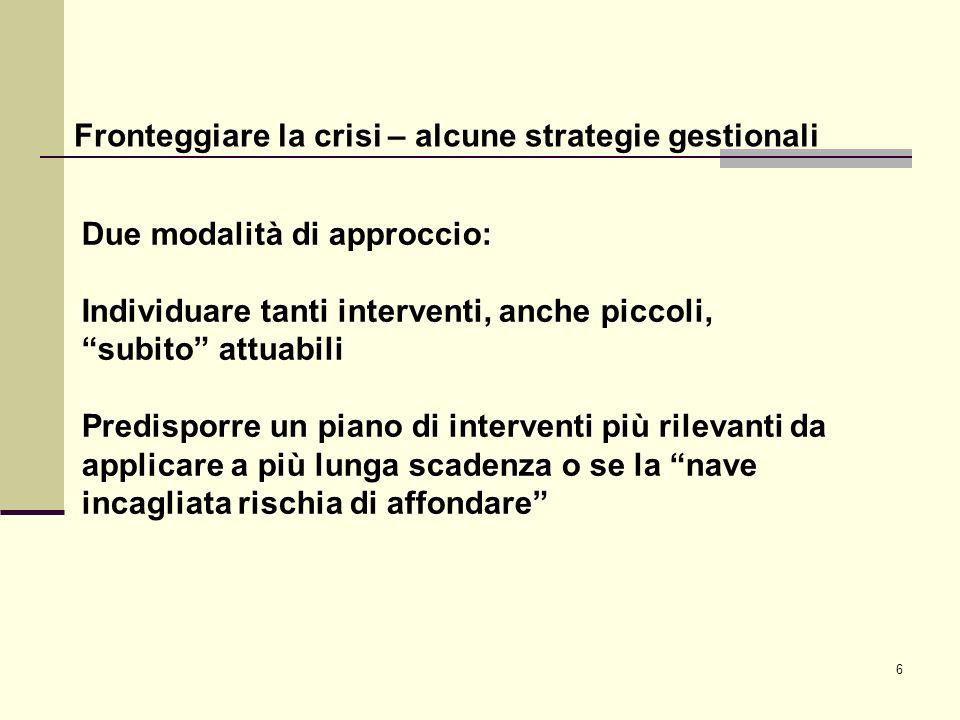 6 Fronteggiare la crisi – alcune strategie gestionali Due modalità di approccio: Individuare tanti interventi, anche piccoli, subito attuabili Predisp