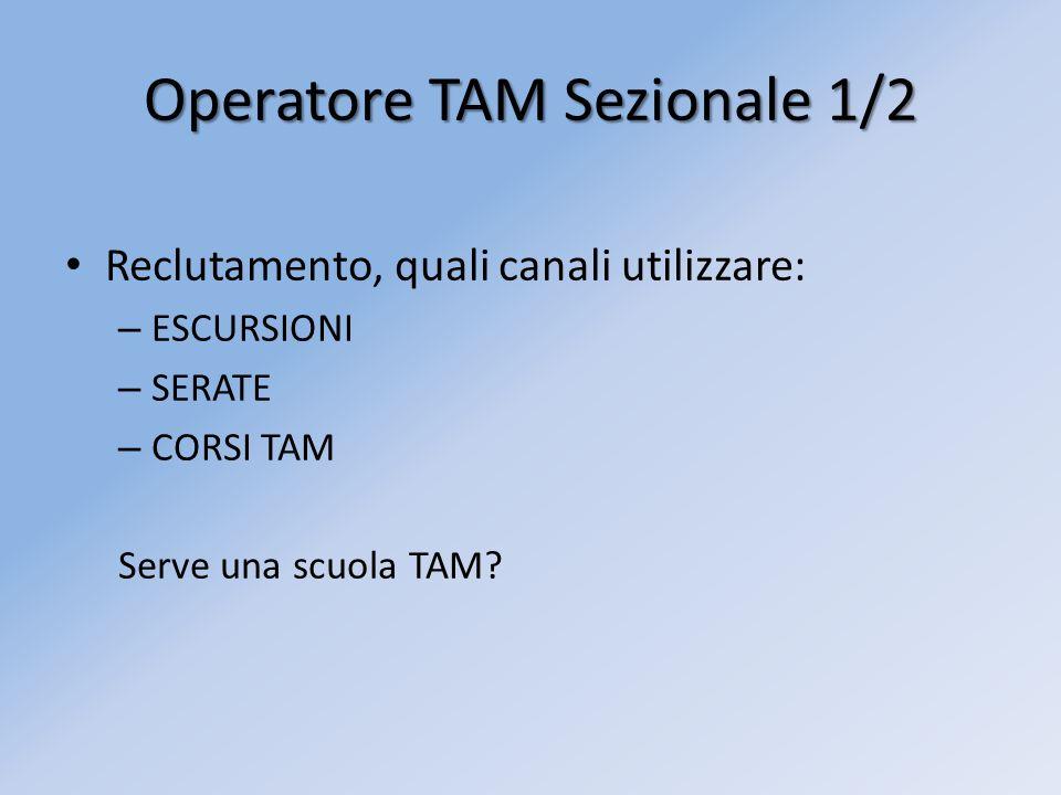 Operatore TAM Sezionale 1/2 Reclutamento, quali canali utilizzare: – ESCURSIONI – SERATE – CORSI TAM Serve una scuola TAM?