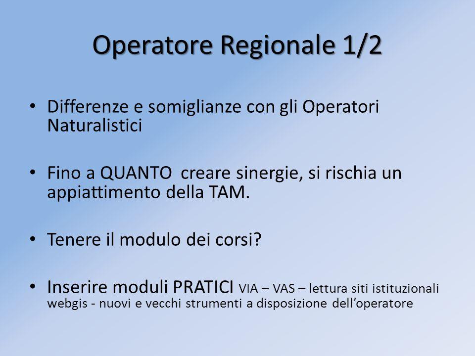 Operatore Regionale 1/2 Differenze e somiglianze con gli Operatori Naturalistici Fino a QUANTO creare sinergie, si rischia un appiattimento della TAM.