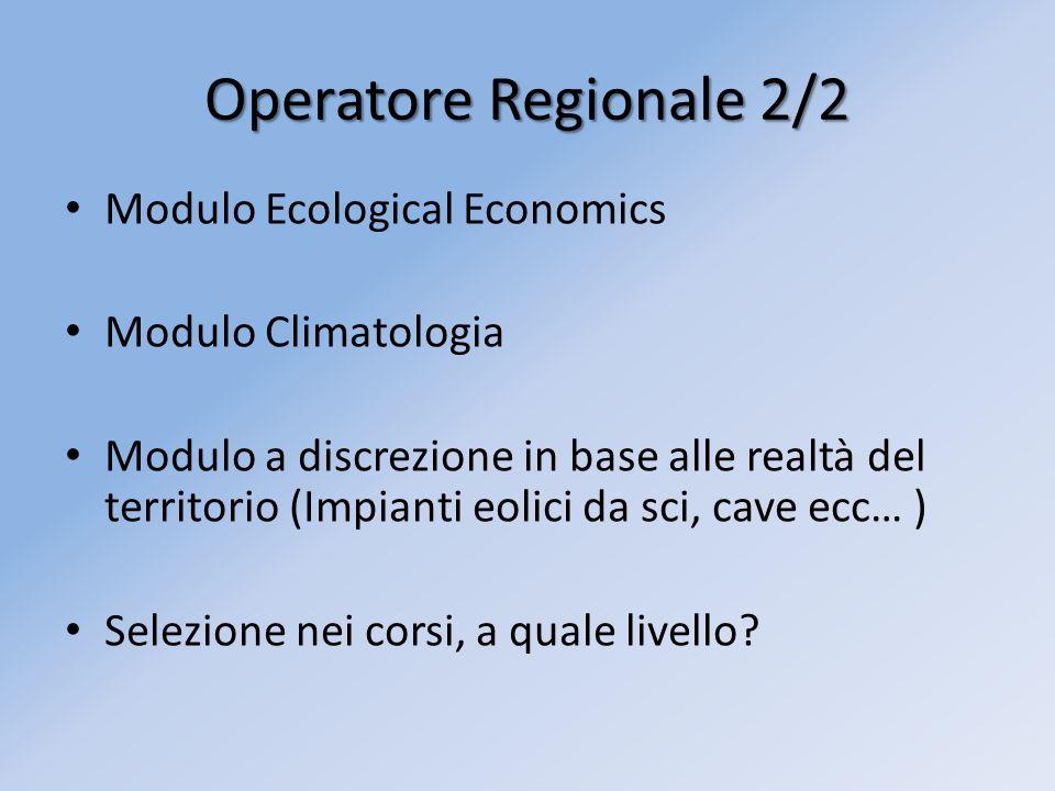 Modulo Ecological Economics Modulo Climatologia Modulo a discrezione in base alle realtà del territorio (Impianti eolici da sci, cave ecc… ) Selezione nei corsi, a quale livello.