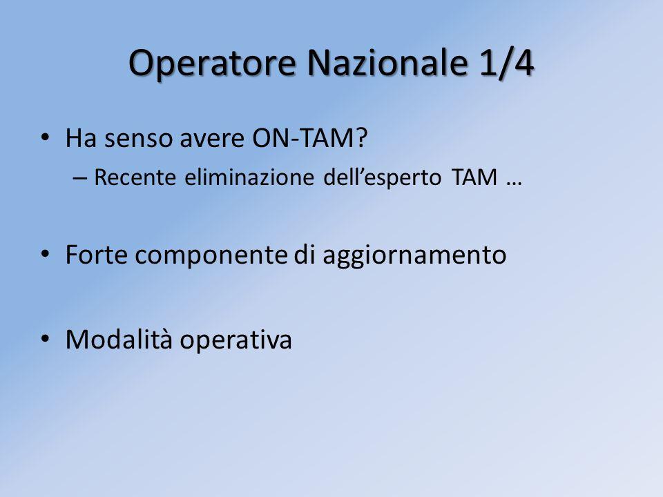 Operatore Nazionale 1/4 Ha senso avere ON-TAM? – Recente eliminazione dellesperto TAM … Forte componente di aggiornamento Modalità operativa